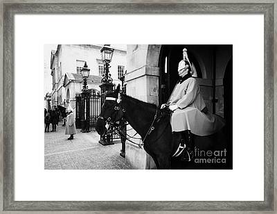 The Household Cavalry Life Guards On Guard Duty In Whitehall London England Uk United Kingdom Framed Print