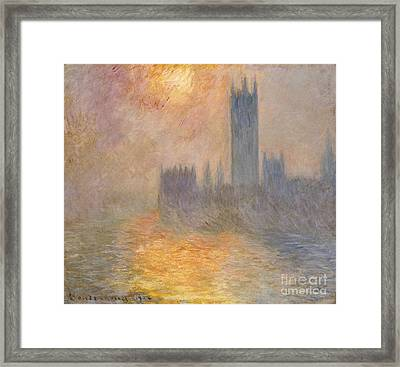 The Houses Of Parliament At Sunset Framed Print by Claude Monet