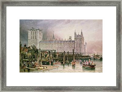 The Houses Of Parliament In Course Of Erection Framed Print