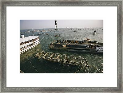 The Hunley Submarine Is Raised Framed Print by Ira Block