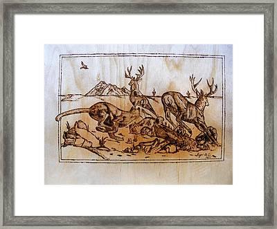 The Hunter -big Predators Cougar And Deers-pyrography Original Framed Print by Egri George-Christian