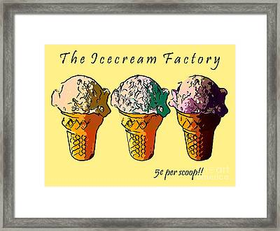 The Icecream Factory . 3 Cents Per Scoop Framed Print by Wingsdomain Art and Photography