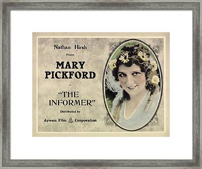 The Informer, Mary Pickford, 1912 Framed Print by Everett