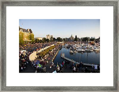 The Inner Harbor On A Busy Summer Framed Print
