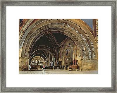 The Interior Of The Lower Basilica Of St. Francis Of Assisi Framed Print by Thomas Hartley Cromek