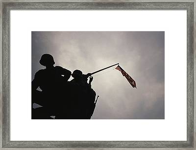 The Iwo Jima Memorial Silhouetted Framed Print