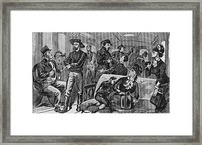 The James Brothers Robbing A Missouri Framed Print by Everett
