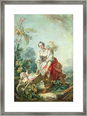 The Joys Of Motherhood Framed Print by Jean-Honore Fragonard