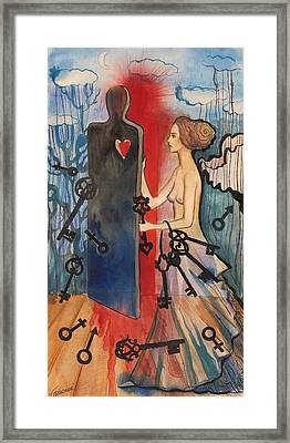 Framed Print featuring the painting The Key Keeper by Valentina Plishchina