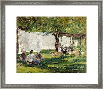 The Laundry At Collise St. Simeon  Framed Print by Eugene Louis Boudin