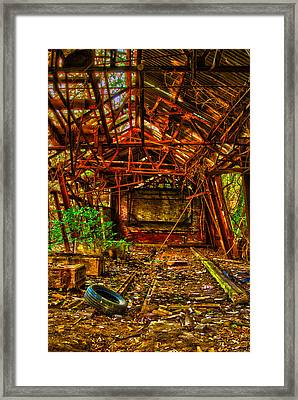 Framed Print featuring the digital art The Leaning Red Room by Kimberleigh Ladd