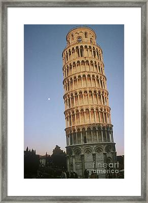 The Leaning Tower Of Pisa With Moon Framed Print