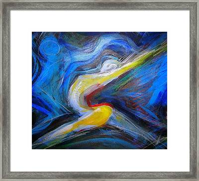 Framed Print featuring the mixed media The Leap by Mary Schiros