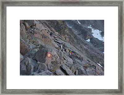 The Ledges On Longs Peak Framed Print by Cynthia Cox Cottam