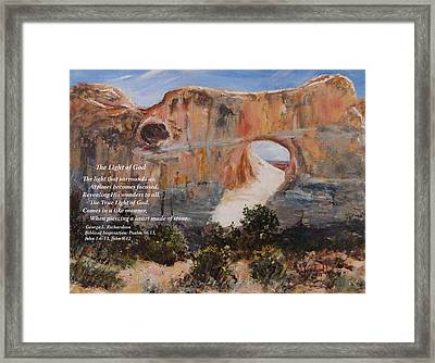 The Light Of God With Poem Framed Print