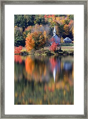 The Little White Church In Autumn Framed Print