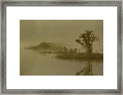 The Lodge In The Mist Framed Print by Skip Willits