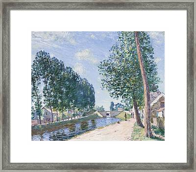 The Loing Canal At Moiret Framed Print by Alfred Sisley