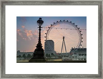 The London Eye Sunrise Framed Print by Donald Davis