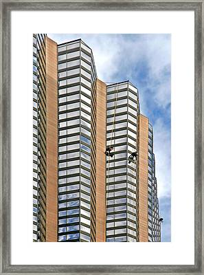The Loneliness Of The Skyscraper Window Cleaner Framed Print by Christine Till
