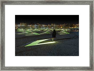 The Lonely Tourist At Pentagon Memorial Framed Print by Metro DC Photography