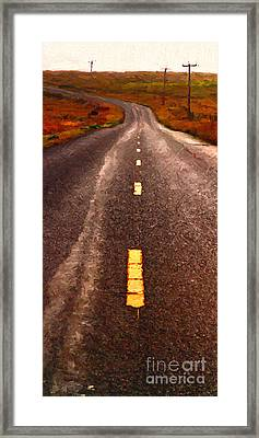 The Long Road Home . Painterly Style . Long Size Framed Print