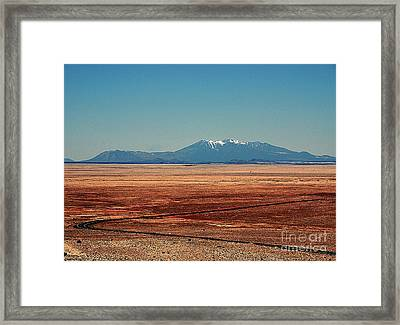 The Long Road To The Meteor Crater In Az Framed Print by Susanne Van Hulst