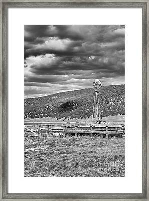 the lonly windmill in B and W Framed Print