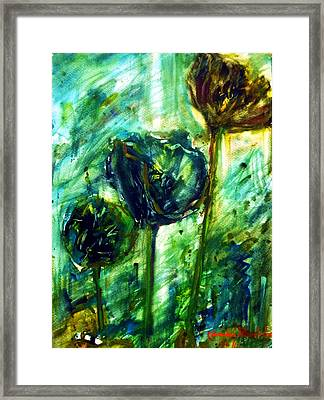 The Lotus Leaf In The Garden. Framed Print
