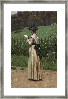 The Love Letter Framed Print by Edmund Blair Leighton
