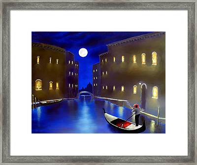 The Magic Nights Of Venice Lights  Framed Print