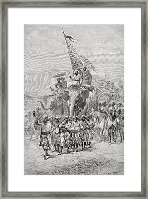 The Maharaja Of Baroda, India Riding An Framed Print by Ken Welsh
