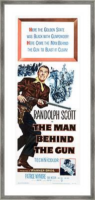 The Man Behind The Gun, Randolph Scott Framed Print by Everett