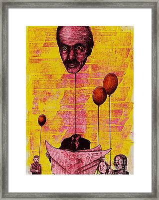 The Man With The Inflatable Head Framed Print by Spencer Bower
