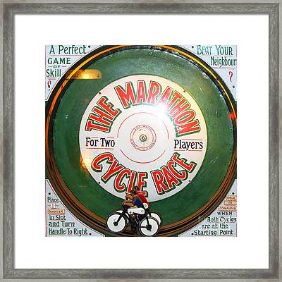 The Marathon Cycle Race At The Musee Mecanique At Fishermans Wharf . San Francisco Ca . 7d14396 Framed Print by Wingsdomain Art and Photography