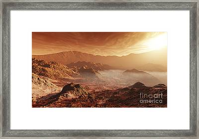 The Martian Sun Sets Over The High Framed Print by Steven Hobbs