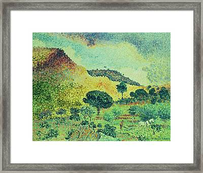The Maures Mountains Framed Print by Henri-Edmond Cross