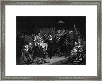 The Mayflower Compact, 1620 Framed Print by Photo Researchers