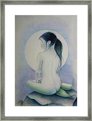 Framed Print featuring the drawing The Mermaid 1 by Tim Ernst