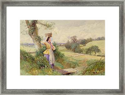 The Milkmaid Framed Print by Myles Birkey Foster
