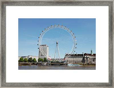 The Millennium Wheel And Thames Framed Print by Richard Newstead