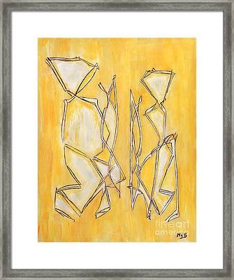 Unique Abstract Art Giclee Canvas Print Original Painting The Couple Decorator Line Art Yellow White Framed Print by Marie Christine Belkadi