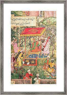 The Mogul Emperor Babur Framed Print by Indian School