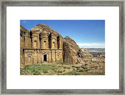The Monastery Ad Dayr At Petra Framed Print by Sami Sarkis