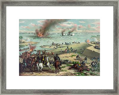 The Monitor And The Merrimac 1862 Framed Print by Photo Researchers