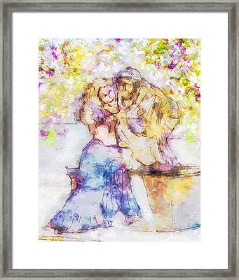 The Monk And The Maiden Framed Print by Jill Balsam