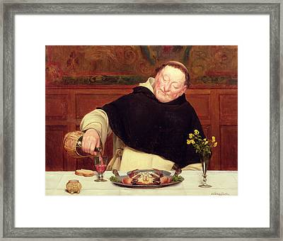 The Monk's Repast Framed Print by Walter Dendy Sadler