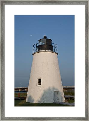 The Moon Behind The Piney Point Lighthouse Framed Print by Bill Cannon