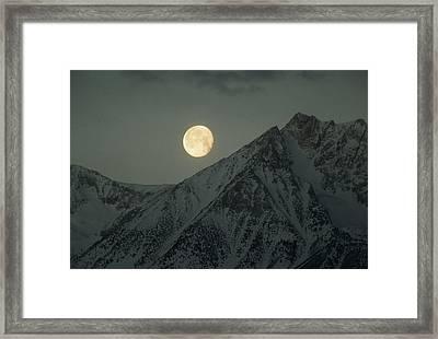 The Moon Sets Over Basin Mountain Framed Print
