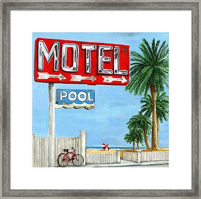 The Motel Sign Framed Print by Debbie Brown
